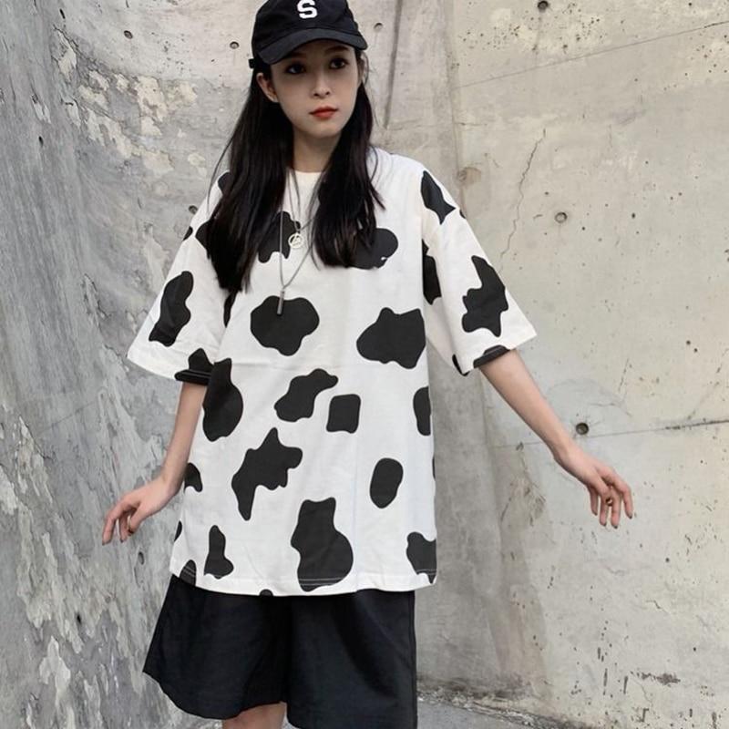 Summer New Harajuku Korean Style Short-sleeved T-shirt Cow Print Ins Harajuku Style Bf Loose Top