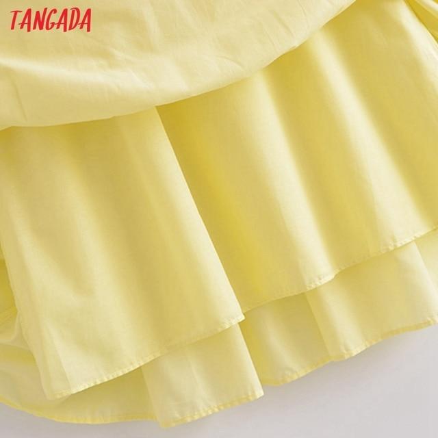 Tangada Women Solid Yellow Cotton  Long Dress Strap Sleeveless Side Zipper 2021 Fashion Lady Elegant Dresses Vestido 3H319 4