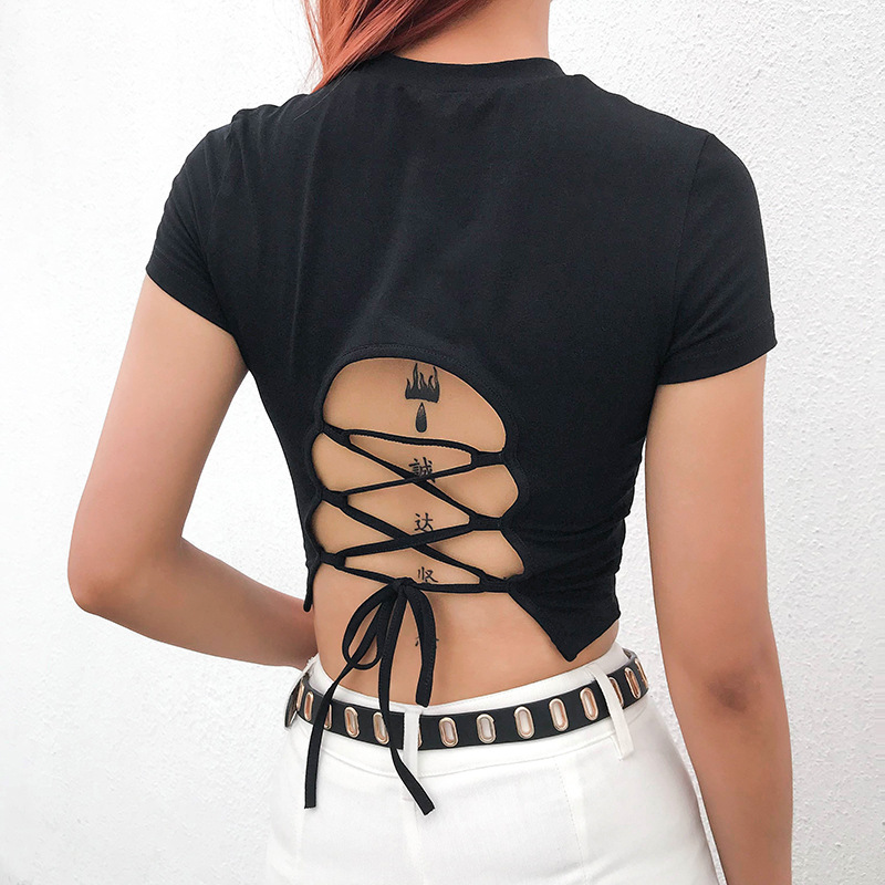 Goth Dark Vintage Gothic Solid T-shirts Women Harajuku Spring 2020 Aesthetic Backless Bandage Grugne Punk Egirl Emo Y2K T-shirt