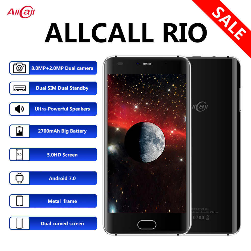 Original Allcall Rio 5.0 pouces IPS arrière cames Android 7.0 Smartphone MTK6580A Quad Core 1GB RAM 16GB ROM 8.0MP OTG 3G téléphone portable