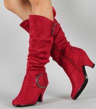 Tamanho grande 43 novo joelho alto botas femininas outono falso camurça fivela moda salto alto sapatos mulher inverno venda quente m441