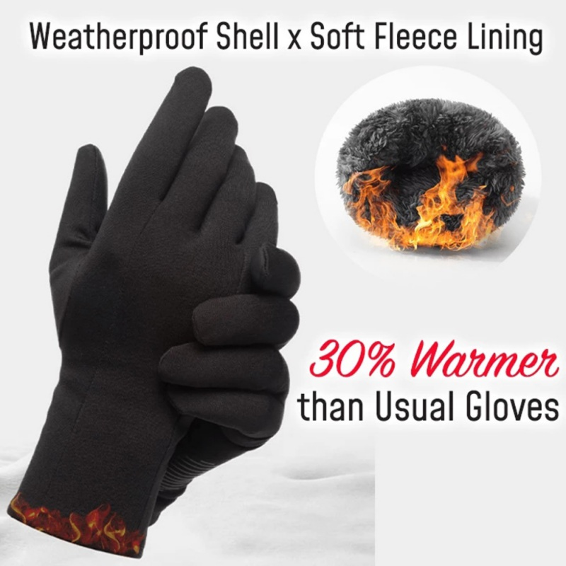 Large Cold-proof Unisex Waterproof Cold-proof Windproof Cycling Warm Gloves Winter Warm Wool-lined Riding Ski Warm Gloves