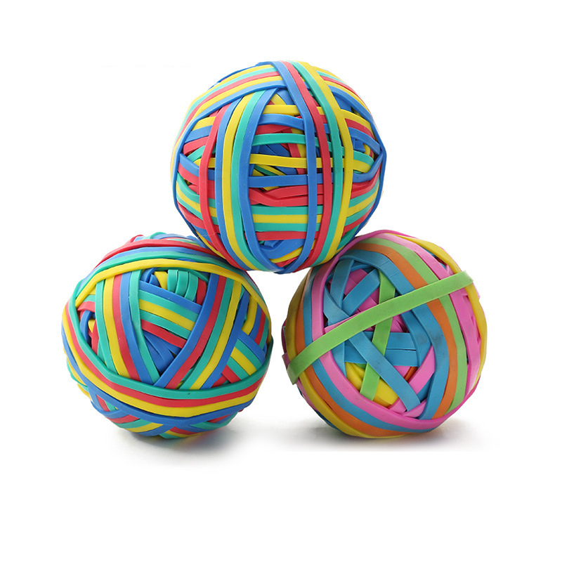 TOR Colorful Strong Elastic Rubber Band Loop 100g School Stationery Office Rubber Band Ball Super Stretch Assorted Color