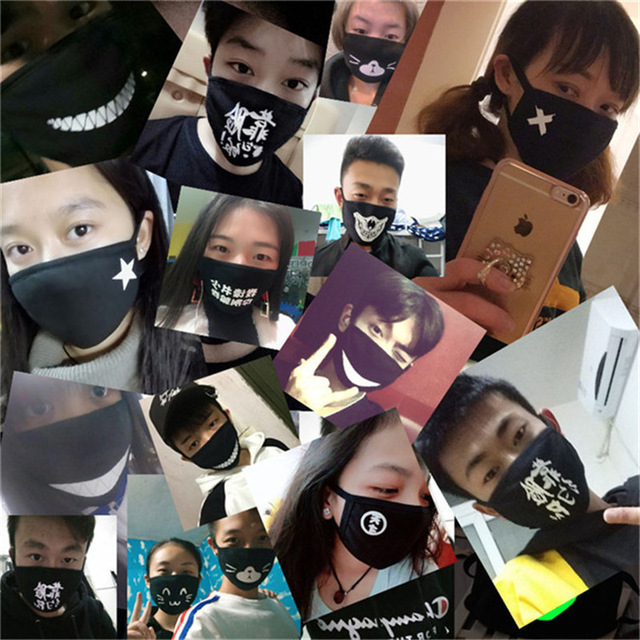 Black Cartoon Face Mask Funny Teeth Punk Luminous Ghost Skull Anti- Dust Winter Cubre Bocas Hombre Cotton Mouth Mask 1