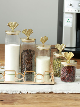 Pure Copper Ginkgo Leaf Glass Sealed Cans European Retro Light Luxury Flower Tea Coffee Pearl Food Storage Tank