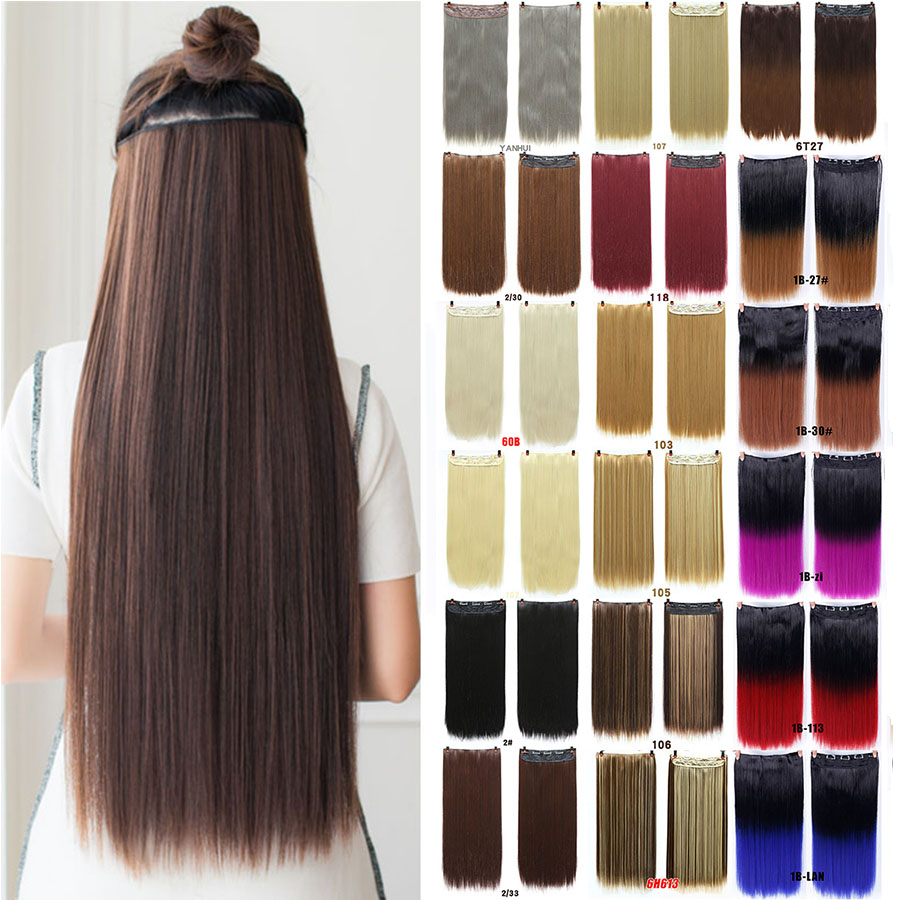 MUMUPI Straight Soft Synthetic Hair Extensions Clips In Hair 3/4 Full Head 1 Piece 5 Stable Clips Easy Put On Headwear