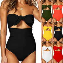 2019 Sexy Ladies Retro High Waist Swimwear Women One piece Swimsuit Female Bandeau Front Tie Cut Out Swim Bathing Suit Monokini cut out tie front abstract print blouse