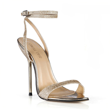 Summer New 11cm High Heeled Sandals Fashion Glitter Stiletto Thin heel Ankle Strap Open Toe Sexy Party Bridals Women Shoes 5-i4 brand new rhinestone open toe super high stiletto 11cm high heel sandals banquet wedding sexy wild women s shoes zapatos de muje