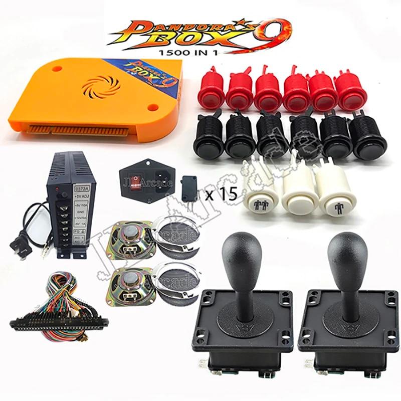 DIY Arcade Machine Cabinet Bundle Original Pandora Box 9 1500 Game Console  Set with HAPP Push Buttons American 8 Way Joysticks