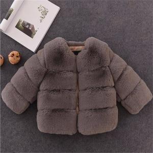 Image 5 - Dziewczyny futro kurtka dla dzieci topy ubrania 2020 nowe dziecko dzieci kurtki ciepły płaszcz ocieplany Solid Color chłopcy Faux futro odzież wierzchnia płaszcz