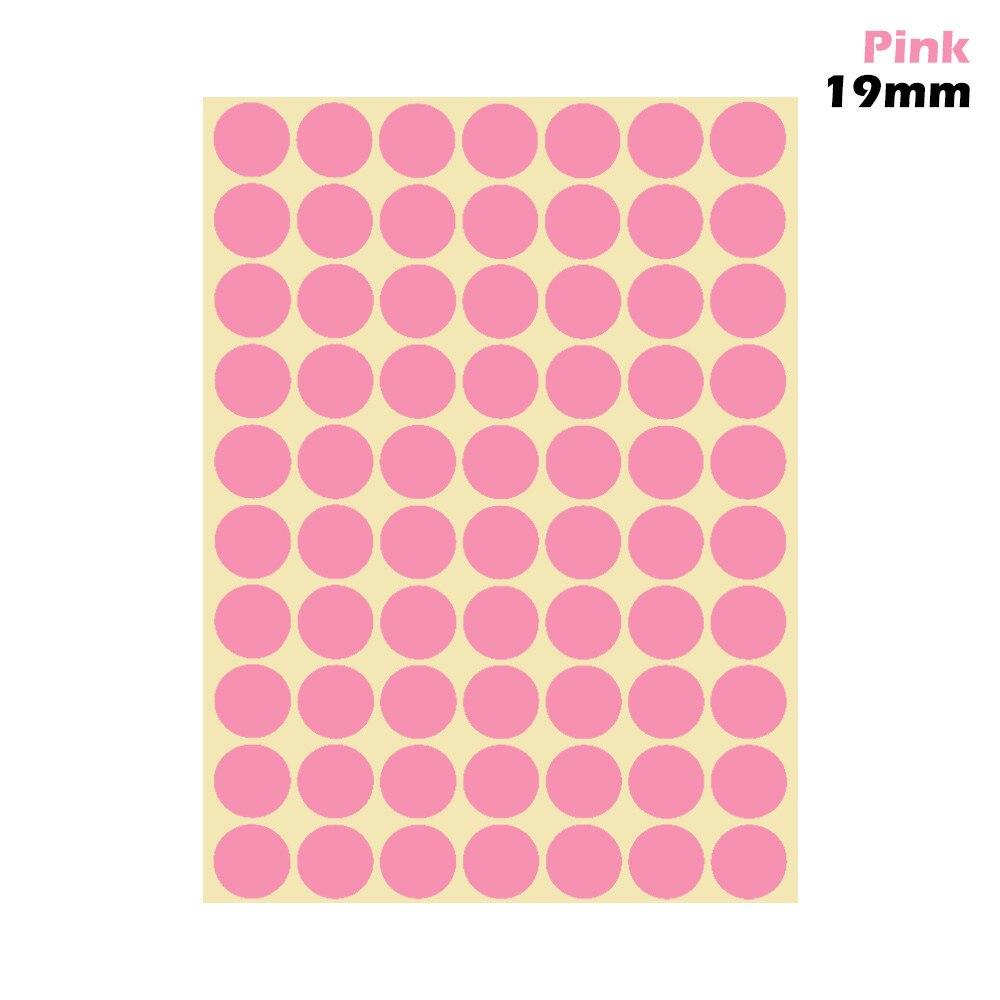 1 лист 10 мм/19 мм цветные наклейки в горошек круглые круги точки бумажные клеящиеся этикетки офисные школьные принадлежности - Цвет: pink 19mm