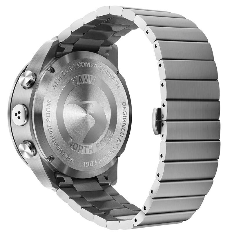 Aço inoxidável relógio de quartzo mergulho militar esporte relógios dos homens mergulho analógico relógio digital masculino do exército altímetro bússola borda norte - 4