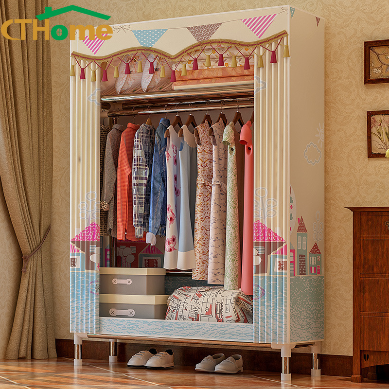 Modern Cloth Simple Assembly Single Person Small Wardrobe Bedroom Storage Cabinets Furniture Dress Rack Portable Baby