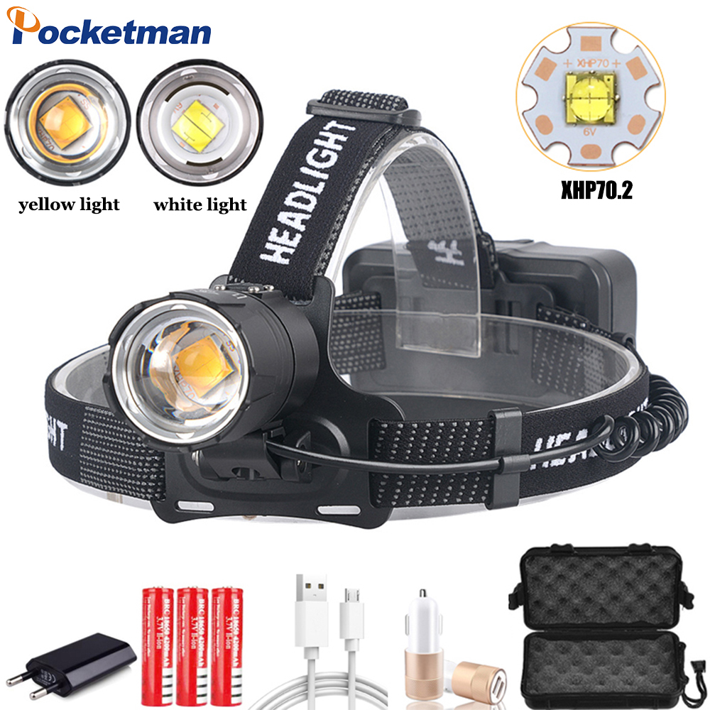8000LM Headlamp Powerful XHP70.2 LED Headlight Zoom Head Light Waterproof Head Lamp Of Yellow White Lighting 18650 Battery