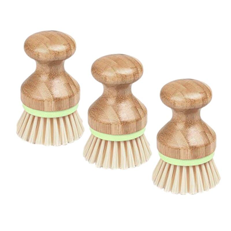 Ev ve Bahçe'ten Temizlik Fırçaları'de 3 adet bambu bulaşık fırçası Mini mutfak lavabo sebze temizleme makinesi tava ovma 4X2.8 inç title=