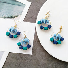 South Korea Accessories Animal Baby Elephant Mint Blue Contrast Color Circle Ear Ring Fashion Popular Earrings Women's Ear Clip(China)