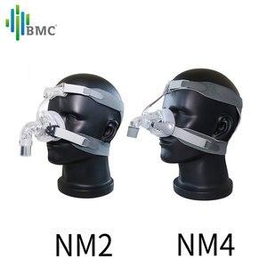 Image 4 - BMC NM2/NM4 האף מסכת CPAP מסכת שינה מסכה עם כיסויי ראש S/M/L שלושה גודל מתאים עבור CPAP מכונת להתחבר צינור והאף