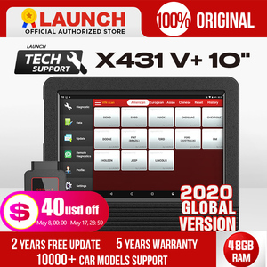 "Launch X431 V plus 10"" X431 V+ OBD2 Diagnostic Scanner Automotive OBD Auto Diagnostic Tool Car OBD2 Scanner PK X431 PRO PRO3 V 8(China)"