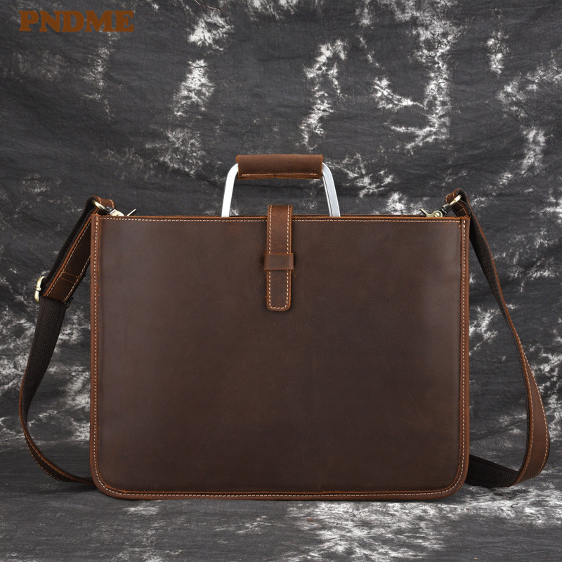 PNDME Simple Crazy Horse Cowhide Men's Briefcase Casual Vintage Genuine Leather Light Lawyer Hand Laptop Shoulder Messenger Bags