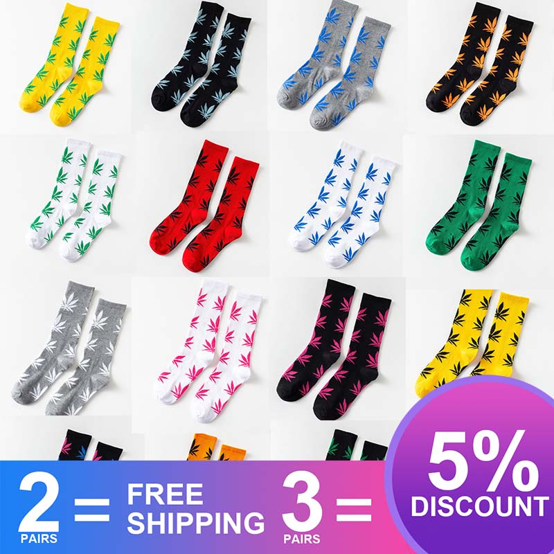 Fashion 1Pair Comfortable High Quality Cotton Socks Hemp Leaf Maple Leaves Casual Long Weed Crew Socks Spring And Autumn S-8