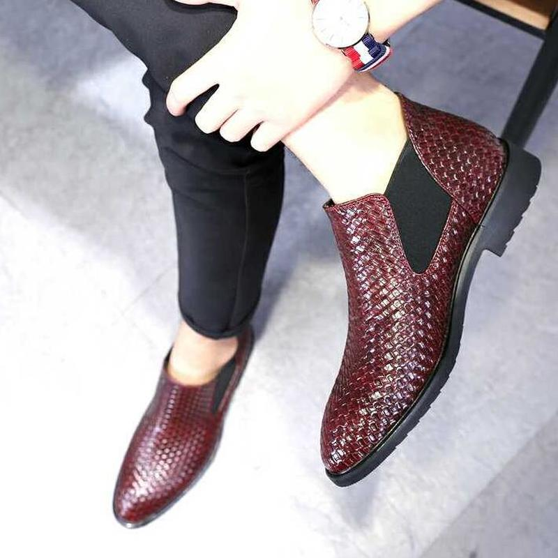 YEELOCA Spring Summer Mens Woven Single Boots Male Chelsea Boots Men Fashion  Ankle Boots Hairstylist Working Shoes Size 38-48