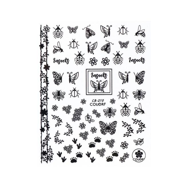 3d Hitam Putih Emas Butterfly Kuku Stiker Hollow Bunga Tanaman Huruf Daun Hewan Slider Penuh Bungkus Musim Panas Dekorasi Sacb198 212 Stiker Stiker Aliexpress