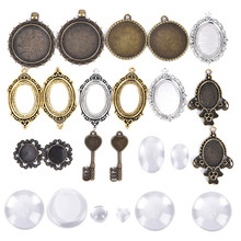 10pcs Cabochon Base Pendant Setting Trays DIY Blank Jewelry Bezels Antique Glass Cover DIY Jewelry Making Lot(China)