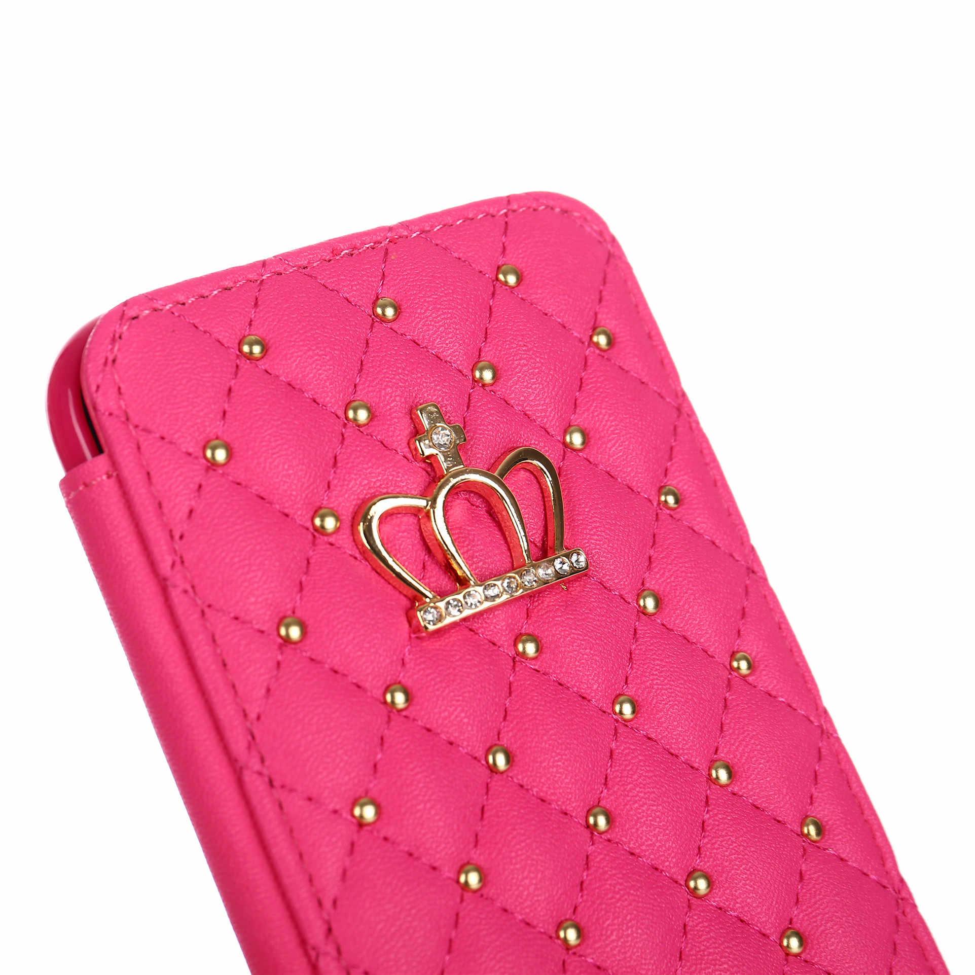 กระเป๋าสตางค์หนังสำหรับiPhone 5 6 6S 7 8 Plus X XR XS Max Case Glitter Crown Queenสไตล์กรณีพลิกฝาครอบโทรศัพท์มือถือแพคเกจ