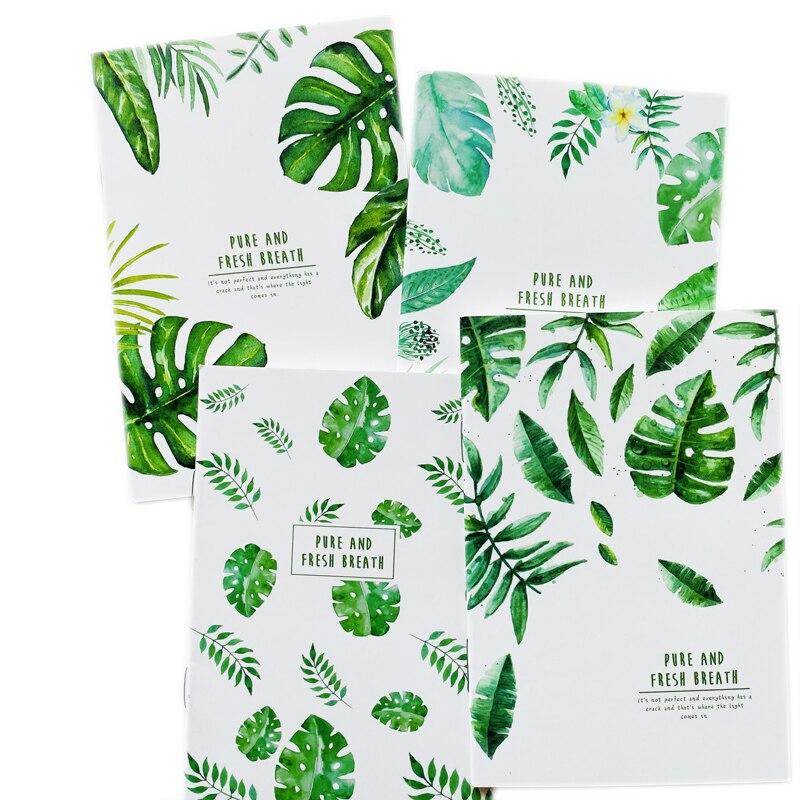 20 páginas bonito puro e fresco respiração folhas verdes caderno livro de escrita diário escola material de escritório artigos de papelaria estudante