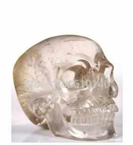 YM 315 SMOKEY QUARTZ Carved Crystal Skull, Super Realistisch, Genezing