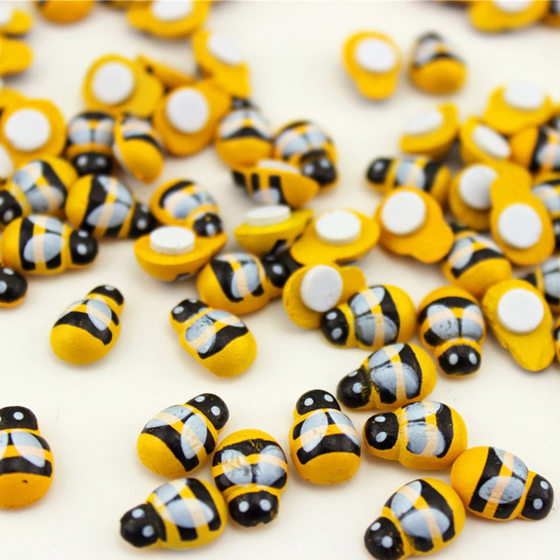 100Pce Tiny Wooden Bee Flatback Embellishment for Craft Scrapbooking DIY De V4Y8
