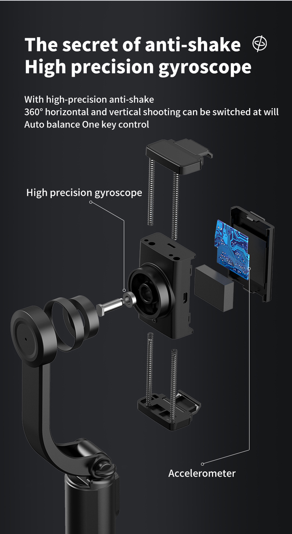 HOTKAY Bluetooth Selfie Stick Tripod 360 /° Rotation Automatic Balance Stable Portable Phone Holder Expandable 3-in-1 Aluminum Alloy Selfie Stick with Single-Axis Gimbal Stabilizer