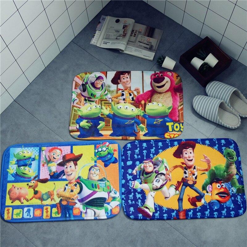 Cartoon Toy Story Mat Buzz Lightyear Woody Strawberry Bear Plush Carpet Foot Pad Door Mat Carpet Plush Toy