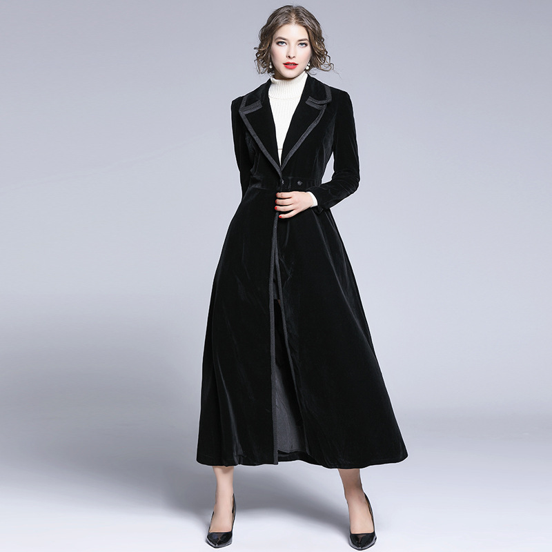 2019 Winter New Women's OL Velvet Trench Coat Oversize Covered Button Vintage Washed Outwear Loose Clothing
