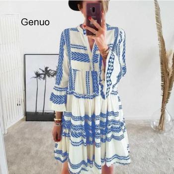 Geometric Print Boho Women Beach Dress V-neck Bell Sleeve Bohemian Beachwear Summer Casual Dresses 2020 New Vestido De Mujer allover geometric print dress