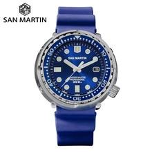 San Martin Tuna Diver Stainless Steel Men Automatic Mechanical Watch Date Windows Enamel Sunray Dial Fluorine Rubber Strap