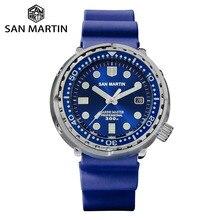San martin tuna diver men aço inoxidável relógio mecânico automático data windows esmalte sunray dial flúor pulseira de borracha