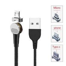 Magnetic USB Cable 5V/9V/12V 2.4A Charging 180 degrees Lightning/Type-C/Micro Port rotating Mobile Phone Data