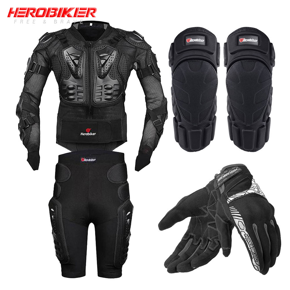 HEROBIKER מעיל אופנוע גוף מלא שריון אופנוע שריון חזה מוטוקרוס מירוץ ציוד מגן Moto הגנת S-5XL