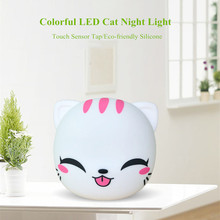 Touch Sensor Colorful Cat LED Night Light USB Rechargeable Atmosphere Light Cartoon Silicone Animal Lamp for Children Baby Gift colorful usb rechargeable silicone lamp cat kitten led night light soft cartoon baby kids lamp xmas new year gift drop shipping