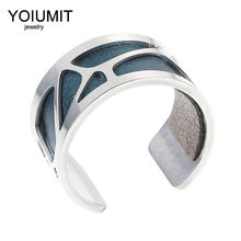 Yoiumit Bague Femme Interchangeable Leather Stainless Steel Giraffe Argent Opening Rings
