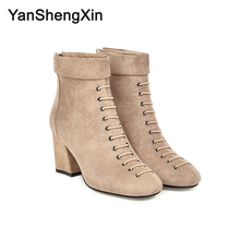 YANSHENGXIN Shoes Woman Boots 11 Eye Knight Ankle Boots High Heels Women Shoes Autumn Winter Boots Large Size Ladies Booties boots eye boots