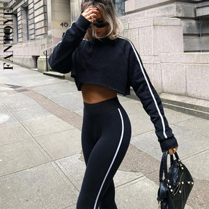 Fantoye Casual Patchwork 2 Pieces Set For Women O Neck Crop Top Skinny Pant Sporty Suit Fashion Black Fitness Outfit Streetwear