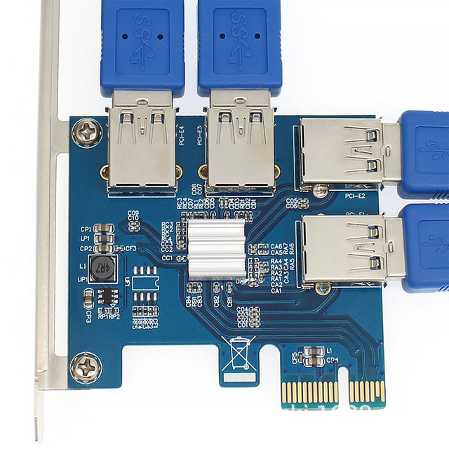 PCI-E to USB Riser Board 1 to 4 Adapter 4-port PCI-E to USB 3.0 Extender Card PCIe Port Multiplier Card Mining Accessory 3