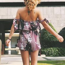 Women Playsuits Summer Floral Print Sleeveless Elastic Waist Backless Sweet  Off Shoulder Ruffle Playsuit