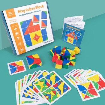 חדש לילדים מעץ צעצועים חינוכיים pixy קוביות בלוקים מרחב חשיבה אינטליגנציה לילדים תינוק 1