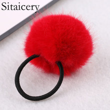 Sitaicery Fur Ball Elastic Girl Womens Ponytail Holders Plush Hair Ring Rope Tie Accessories HairBand