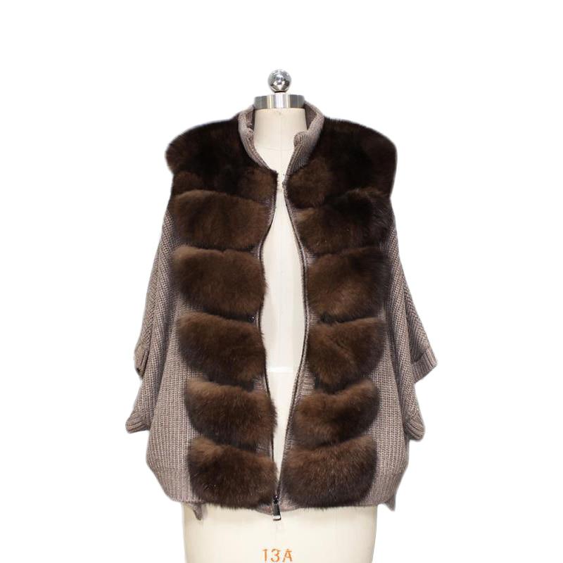 Winter New Warm Fox Fur Coat For Women Luxury Bat Sleeved Solid Color Horizontal Stripes Real Fox Fur Coat Female Plus Size