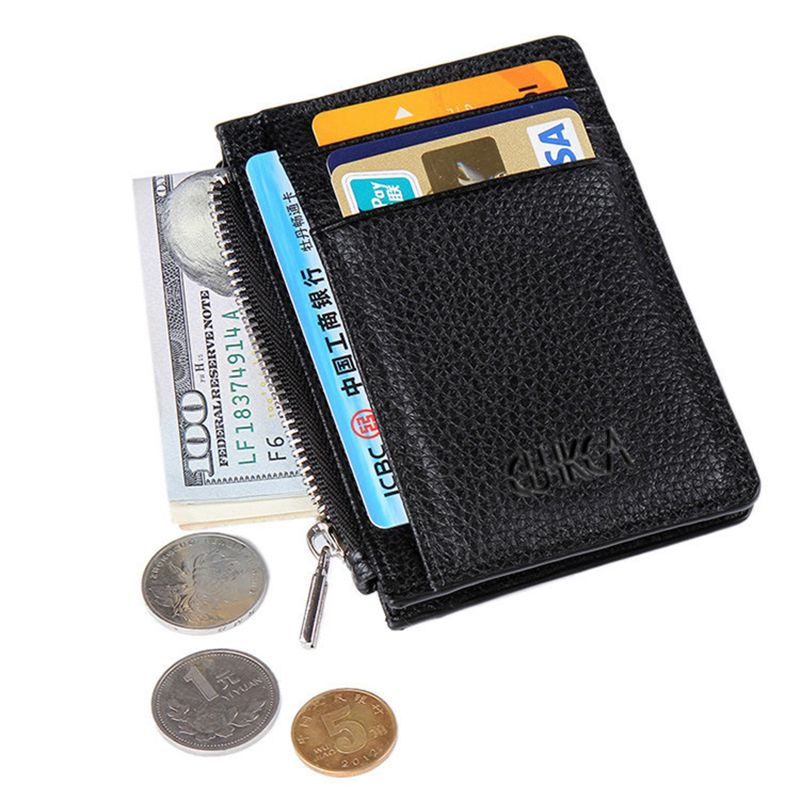 Creative Zipper Slim Credit Card Holder Wallet With Men PU Soft Dollar Clip Leather Business ID Card Organizer Coin Purse