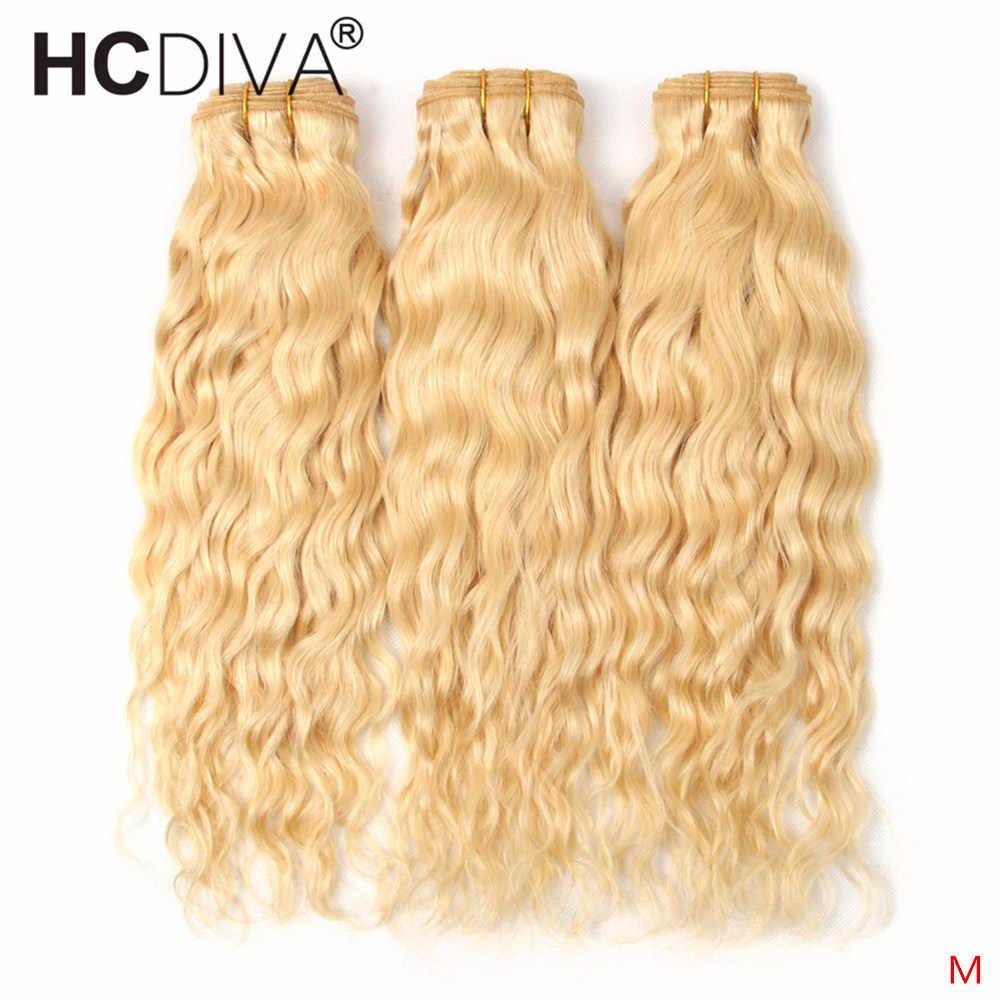 613 Blonde Bundles Mit Verschluss Brasilianische Wasser Welle 3 Bundles Mit Frontal Blond Spitze Frontal Verschluss Mit Bundles Remy Haar